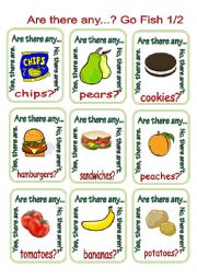 English Worksheet: Are there any...? Go Fish 1/2