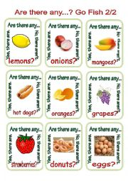 English Worksheet: Are there any...? Go Fish 2/2