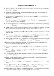 english worksheets identify sentence errors ii. Black Bedroom Furniture Sets. Home Design Ideas