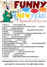 Funny New Year´s Resolutions- Vocabulary gap-filling activity(reuploaded,key is given)