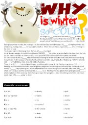 english worksheets cloze test writing why is winter so. Black Bedroom Furniture Sets. Home Design Ideas