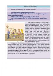 English Worksheet: Activity-based teaching