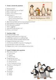 English Worksheet: Christmas worksheet - Madagascar Penguins