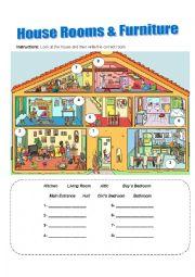 English Worksheet: House Rooms & Furniture