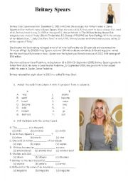 English Worksheet: Britney Jean Spears