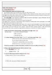 English Worksheet: An exam paer about ethics in business