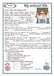 English Worksheet: My School Life