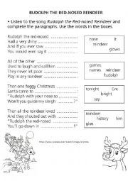 English Worksheet: Rudolph the red-nosed reindeer