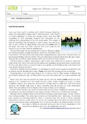 English Worksheet: test on the environment 11th grade