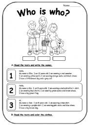 reading comprehension with clothes (2 pages)