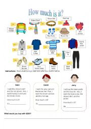 English Worksheet: How much is it? (Boys)