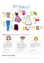 English Worksheet: How much is it? (Girls)