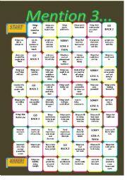 English Worksheet: MENTION 3 GAME