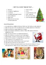 English Worksheet: The History of Christmas (based on a short video)