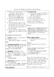 English Worksheet: Context Clues Notes