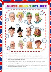 English Worksheet: GUESS WHO THEY ARE - DESCRIBING PEOPLE