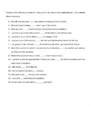 English Worksheet: Conjuctions ( and , but , or )
