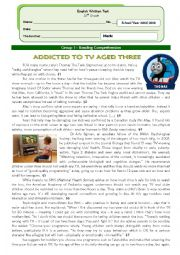 English Worksheet: The impact of television on young children