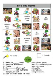 English Worksheet: Coin Game - Telephone/Activity Conversations