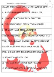 English Worksheet: MODALS IN THE PAST - CHRISTMAS :D