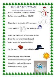 English Worksheet: build a snowman song and activity