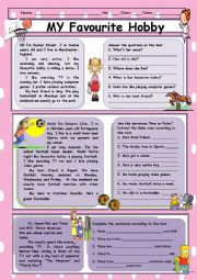 My Favourite Hobby  Reading Comprehension  Esl Worksheet By Spyworld My Favourite Hobby  Reading Comprehension