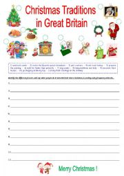 English Worksheet: Christmas traditions in Great Britain