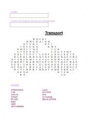 English Worksheet: Word search TRANSPORT