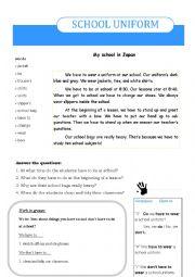 English Worksheet: School Uniform