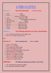English Worksheet: a few / a little