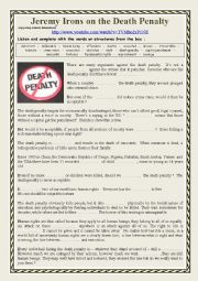 English Worksheet: The Death Penalty Watch and listen to Jeremy Irons supporting Amnesty International