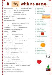 English Worksheet: A horse with no name by America