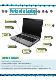 eb877accf0d7 Parts of a Laptop - ESL worksheet by Saff