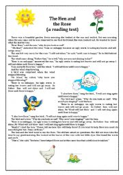 English Worksheet: The Hen and the Rose
