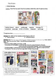 English Worksheet: The British Press : Tabloids Vs Broadsheets(serious papers)
