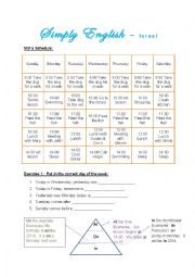 English Worksheet: Miri�s Schedule
