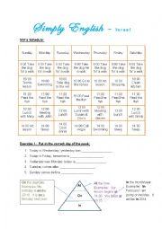 English Worksheet: Miri�s Schedule