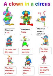 English Worksheet: activities of a clown in a circus