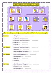 English Worksheet: The Simpsons family tree