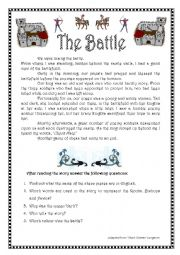 English Worksheet: Narrative tenses. The battle