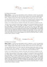English Worksheet: reading comprehension about the series modern family