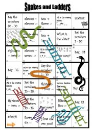English Worksheet: Snakes and ladders game