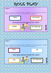 English Worksheet: Role play and writing - Dating - B2