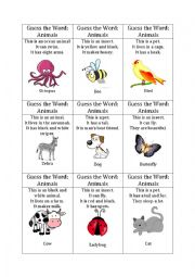 English Worksheet: Guess the word game