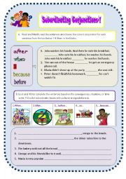 English Worksheet: Subordinate conjunctions-because, so, when, after, before