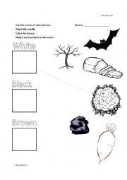 English Worksheet: White, Brown, & Black kinder matching