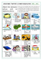 English Worksheets: IDIOMS WITH COMPARISONS AS...AS... (+KEY)