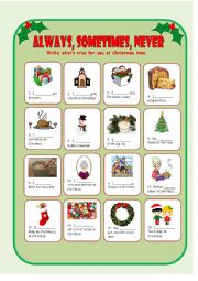 Adverbs of Frequency, Christmas Traditions