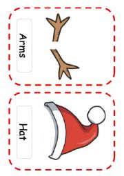English Worksheet: Flash-cards snowman
