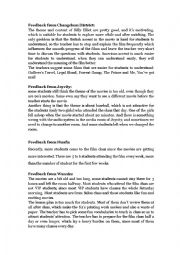 English Worksheet: Review and feedback for the movie Billy elliot